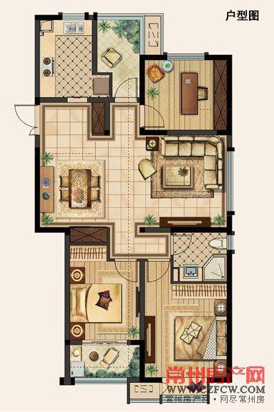 A户型-117�O-02 三室两厅一卫