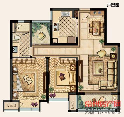 B户型-88�O-02 两室两厅一卫