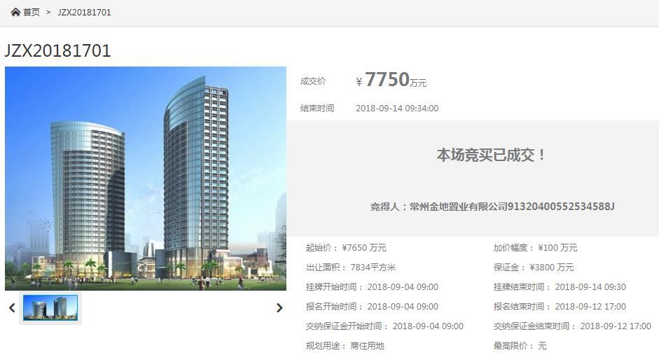 常州金地7750万竞得滨河小区地块 楼面价5996元/�O