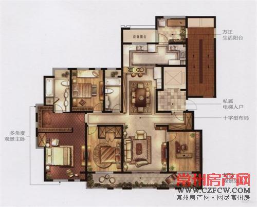套房设计图四室一厅一阳台一厨房展示