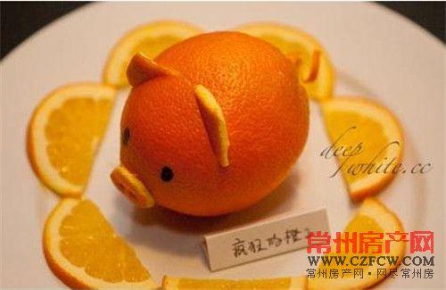 橙子做的小动物造型