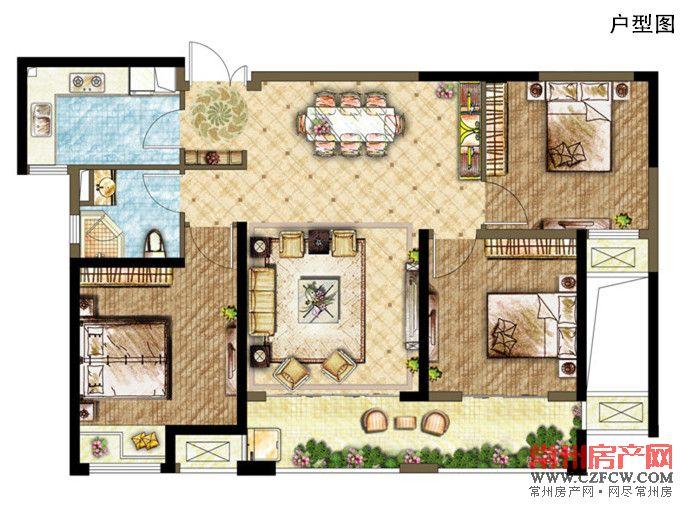 自建房三房两厅平面设计图展示